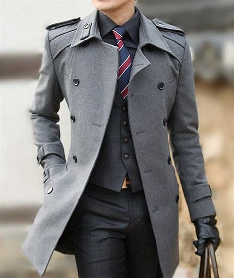 British Style Mens Double-breasted Long Winter Wool Coat