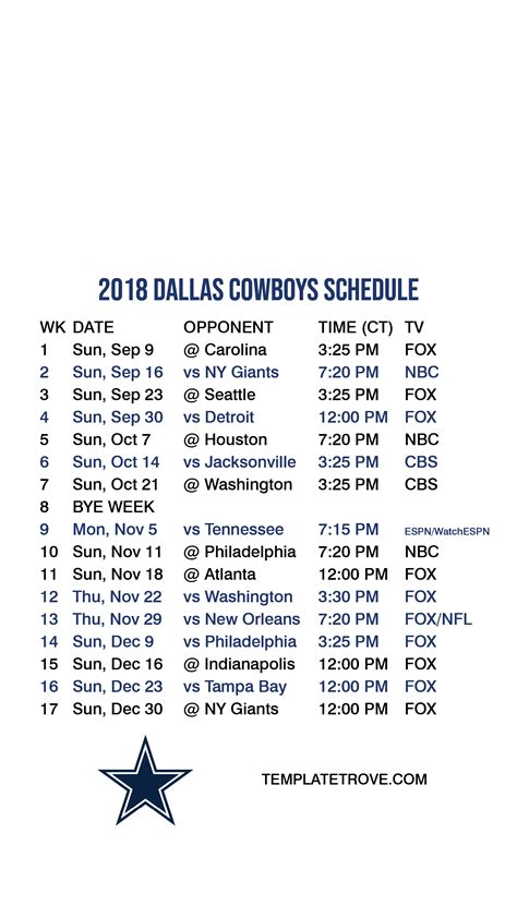 2018-2019 Dallas Cowboys Lock Screen Schedule for iPhone 6