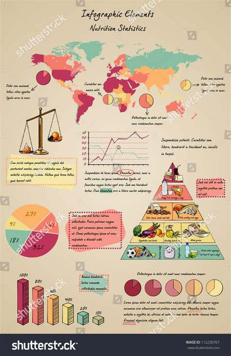 Set Of Infographic Elements With Food, Nutrition, World