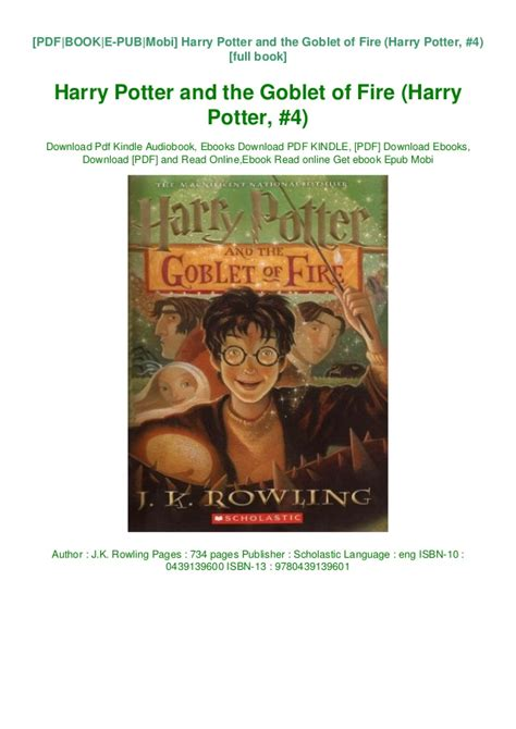 Harry potter and the goblet of fire pdf full book