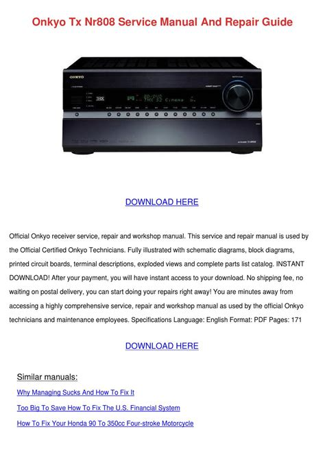 Onkyo Tx Nr808 Service Manual And Repair Guid by